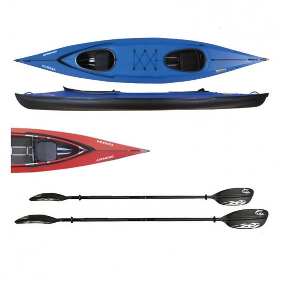 Triton Vuoksa 2 Advanced Faltboot Kajak 2er Set mit 2 Fiberglas Doppelpaddel hier im Triton-Shop günstig online bestellen