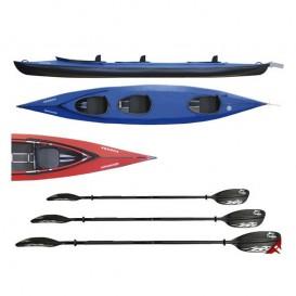 Triton Vuoksa 3 Advanced Faltboot Kajak 3er Set mit 3 Fiberglas Doppelpaddel