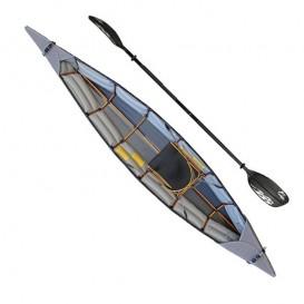 Pakboats Puffin Saco Faltboot Kajak 1er Set mit Fiberglas Doppelpaddel schwarz