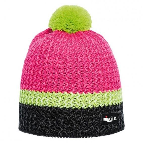 Eisglut Monty Damen Strickmütze mit Bommel Pudelmütze schwarz-pink hier im Eisglut-Shop günstig online bestellen