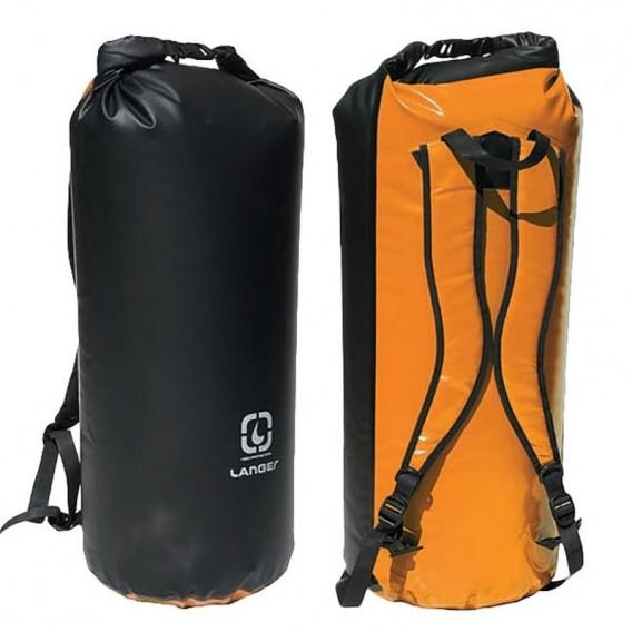 Langer Packsack Rucksack orange-schwarz hier im Langer-Shop günstig online bestellen