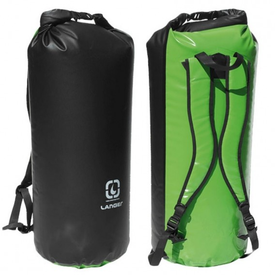 Langer Packsack Rucksack grün-schwarz hier im Langer-Shop günstig online bestellen