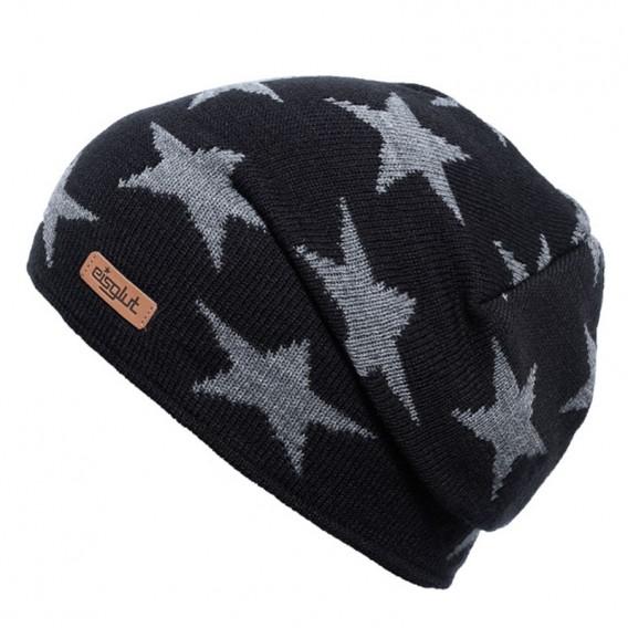 Eisglut Starlet Kinder Strickmütze Beanie mit Sternen schwarz-grau meliert hier im Eisglut-Shop günstig online bestellen