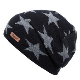 Eisglut Starlet Kinder Strickmütze Beanie mit Sternen schwarz-grau meliert
