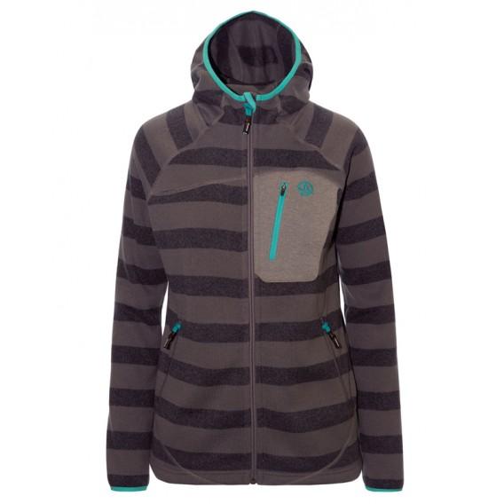 Ternua Chaqueta Saint Fil Hoody Jacket Damen Fleecejacke black stripes hier im Ternua-Shop günstig online bestellen