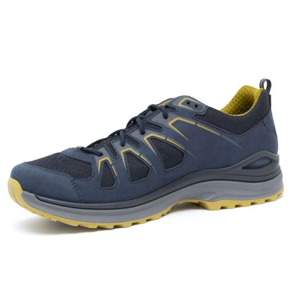 Lowa Innox Evo GTX Low Herren Trekkingschuh Multifunktionsschuh stahlblau-senf hier im Lowa-Shop günstig online bestellen