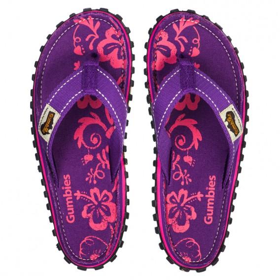 Gumbies Purple Hibiscus Zehentrenner Badelatschen Sandale lila hier im Gumbies-Shop günstig online bestellen