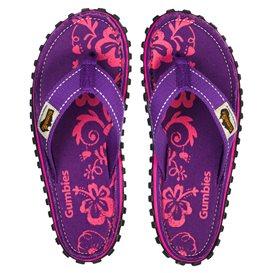 Gumbies Purple Hibiscus Zehentrenner Badelatschen Sandale lila