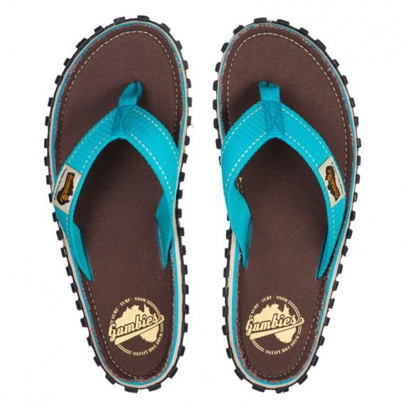 Gumbies Brown Retro Zehentrenner Flip-Flops Sandale türkis hier im Gumbies-Shop günstig online bestellen
