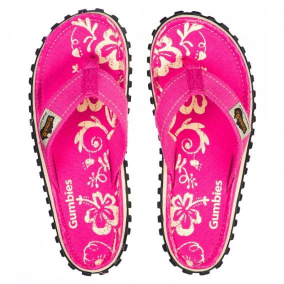 Gumbies Kids Pink Hibiscus Kinder Zehentrenner Flip Flops Sandale pink