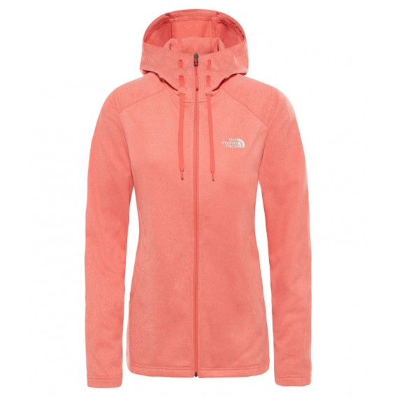 The North Face Mezzaluna Hoodie Damen Fleecejacke coral-white heather hier im The North Face-Shop günstig online bestellen