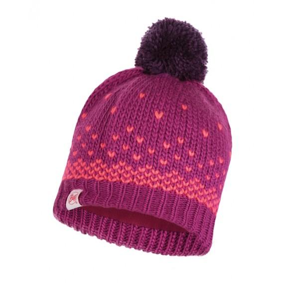 Buff Knitted Polar Hat Hilda Child Kinder Bommelmütze purple raspberry hier im Buff-Shop günstig online bestellen