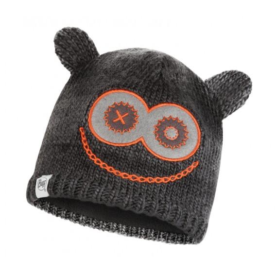 Buff Knitted Polar Hat Monster Jolly Child Kinder Bommelmütze black
