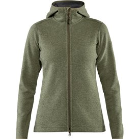 Fjällräven High Coast Wool Hoodie Damen Fleecejacke green