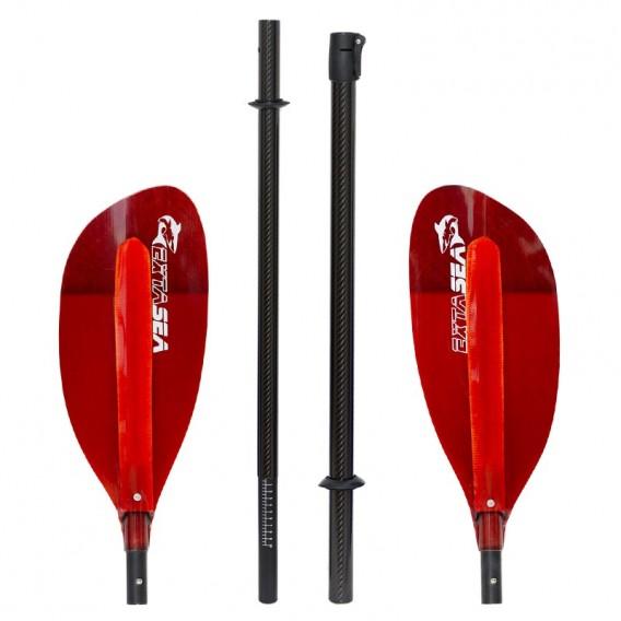 ExtaSea Pro-XL Carbon Vario Doppelpaddel | 220-240cm | 4-teilig | red hier im ExtaSea-Shop günstig online bestellen