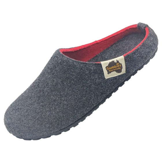 Gumbies Outback Slipper Damen und Herren Hausschuhe Hüttenschuhe charcoal-red hier im Gumbies-Shop günstig online bestellen