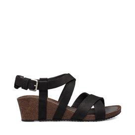 Teva Mahonia Wedge Damen Leder Sandale mit Keilabsatz black