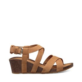Teva Mahonia Wedge Damen Leder Sandale mit Keilabsatz chipmunk