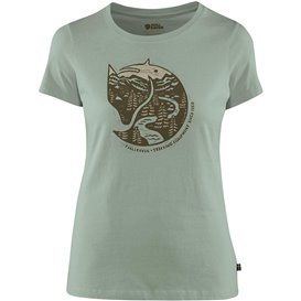 Fjällräven Arctic Fox Print T-Shirt Damen Freizeit und Outdoor Kurzarm Shirt sage green