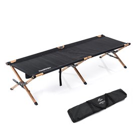 Naturehike Wooden Camping Bed Feldbett aus Aluminium black