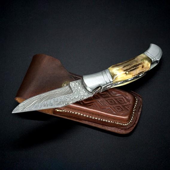 AO Equipment Taschenmesser 512 Lagen Damast Klappmesser Hirschhorn hier im ARTS-Outdoors-Shop günstig online bestellen