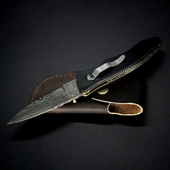 AO Equipment Taschenmesser 512 Lagen Damast Klappmesser Pakkaholz rot schwarz hier im ARTS-Outdoors-Shop günstig online bestelle
