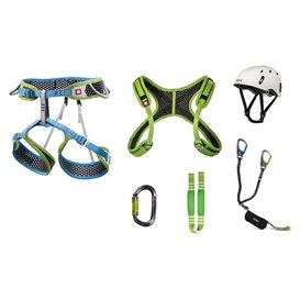 Ocun Via Ferrata Webee und Chest Pail Set Klettergurt Set mit Helm