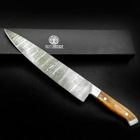 AO Equipment Damaszener Küchenmesser mit Holzgriff handgeschmiedet mit Geschenkbox hier im ARTS-Outdoors-Shop günstig online bes