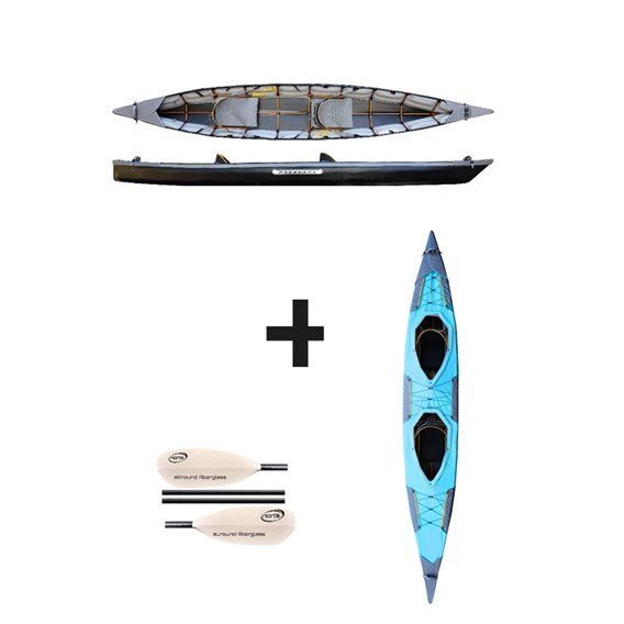 Pakboats Puffin Saranac Jubelpaket mit Verdeck und Fiberglas Paddeln